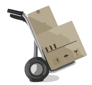 קופסאות על עגלה